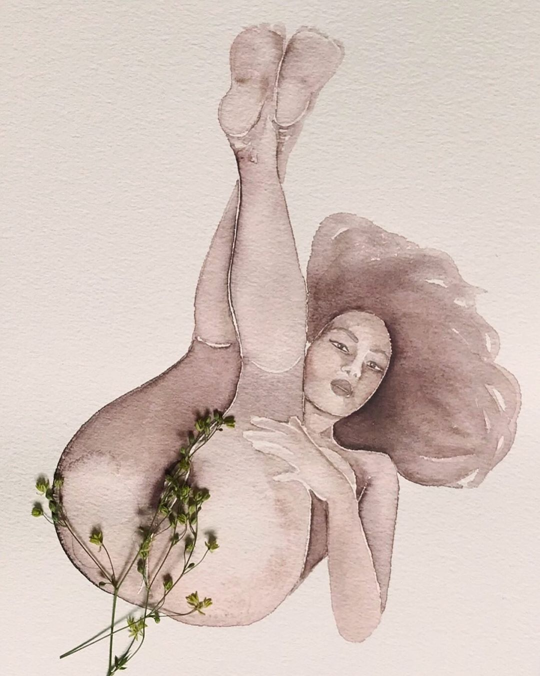 watercolor woman laying down with flowers